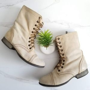 Steve Madden Troopa Combat Boots Tan Leather